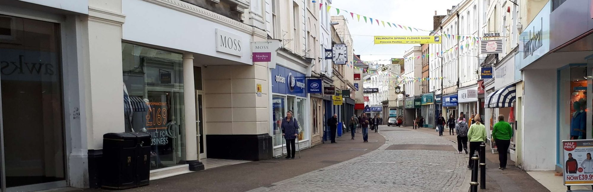 Shopping in Market Street Falmouth