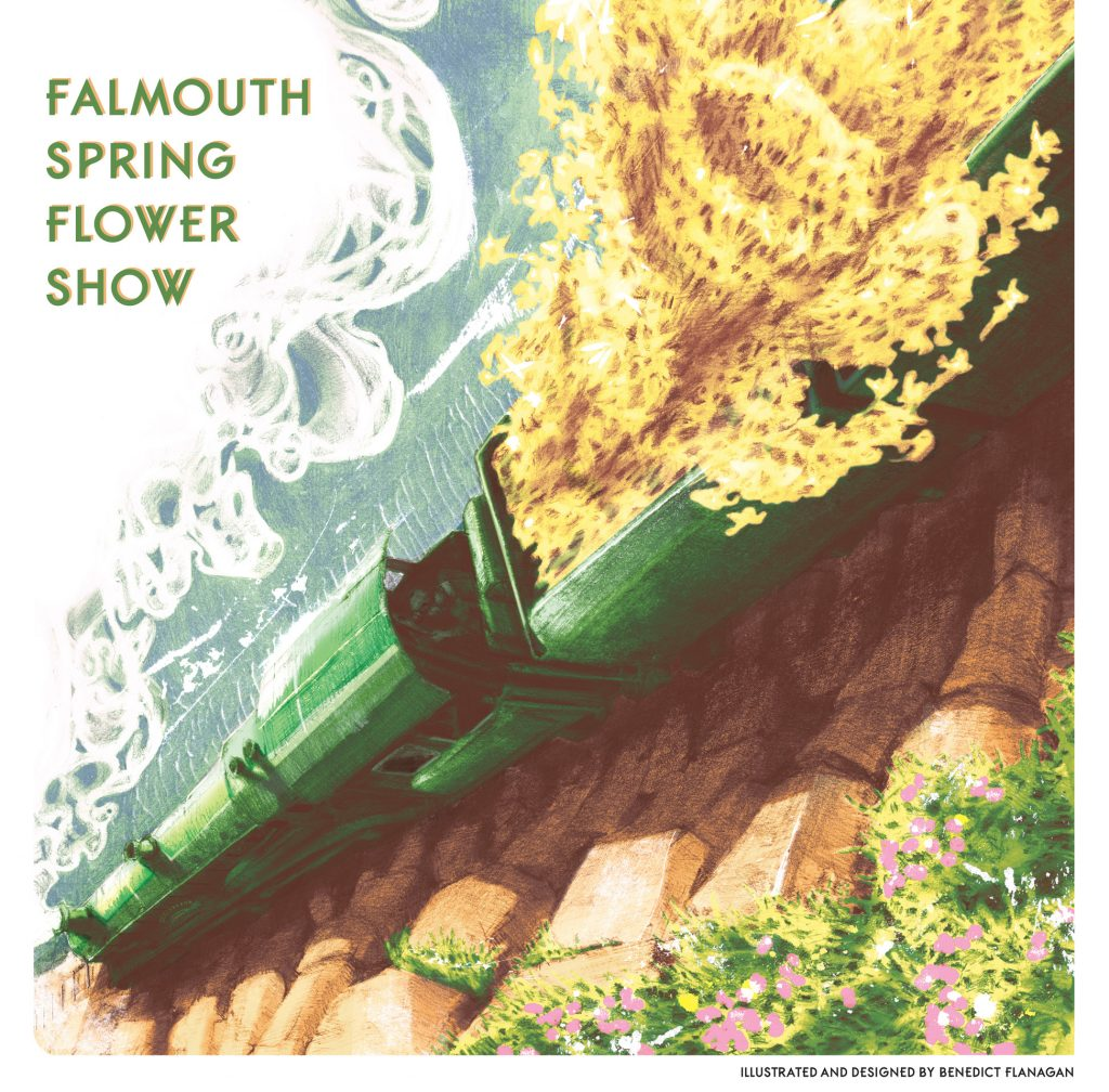 Poster featuring a coloured drawing of a green steam train filled with yellow daffodils