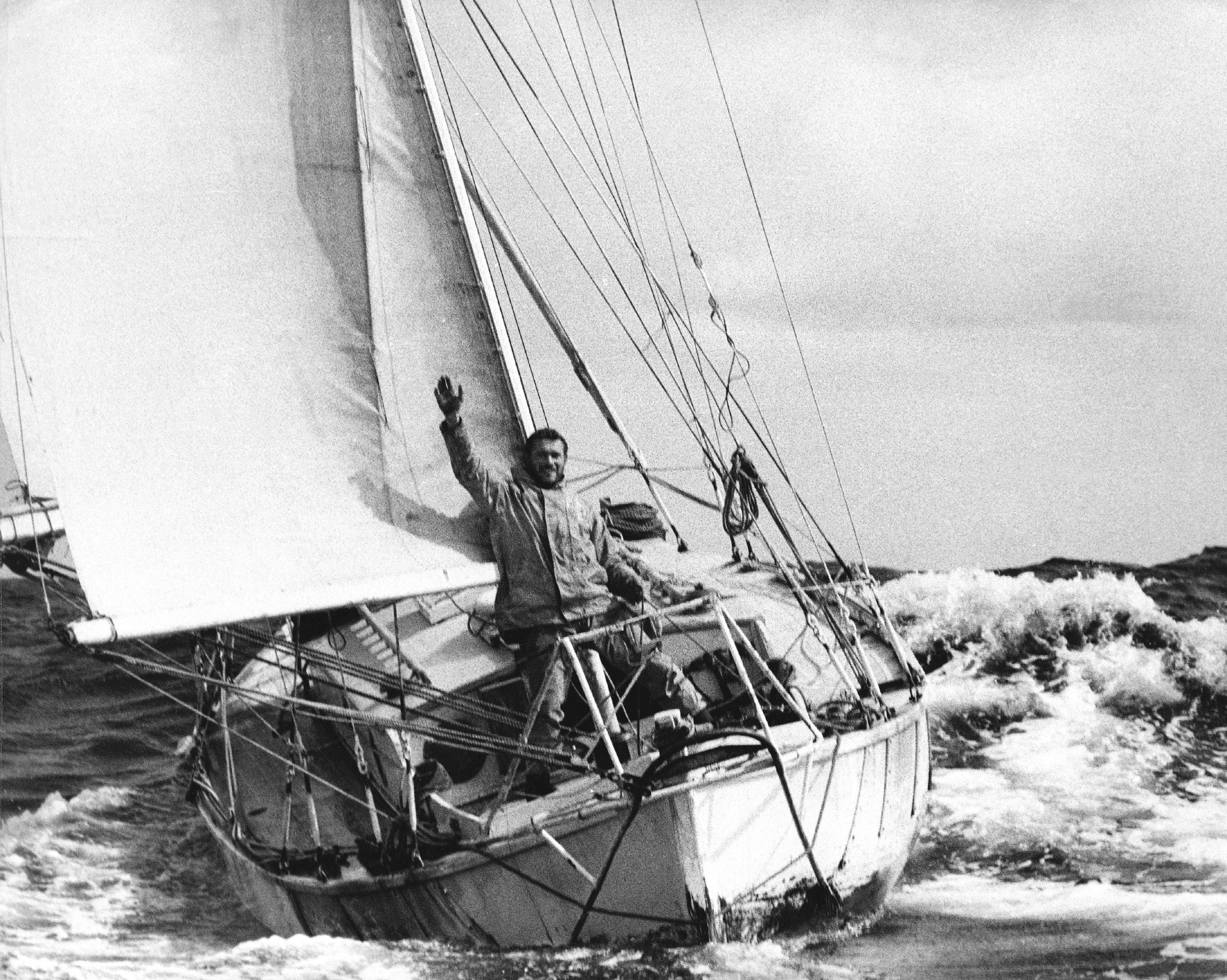 Sir Robin Knox-Johnson aboard his yacht 'Suhaili'